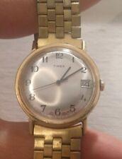 VINTAGE MENS TIMEX QUARTZ WRIST WATCH ENGLAND MODEL 25429 10580A GOLD TONE