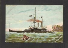 POSTCARD:  PAINTING OF HMS TRAFALGAR, BRITISH ROYAL NAVY BATTLESHIP, Mailed 1904