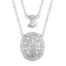 "925 Sterling Silver Mercury Glow Quartz White Zircon Necklace 20"" Ct 3.2 -ST"