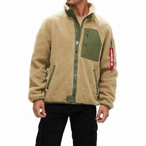 Mens Alpha Industries Ridge Utility Jacket Cream Sherpa