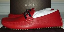 Gucci Mens Red Horsebit Leather Driver Shoes Size 11
