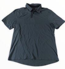 lululemon mens Drysense polo shirt Mach Blue Gray Green Short Sleeve Zipper M