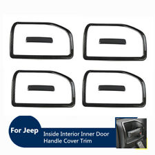 Carbon Fiber Interior Door Handle Bowl Covers Molding Trim for Jeep Wrangler 11+