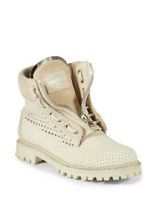 Balmain Beige Tundra Perforated Suede Leather Combat Boots Size EU 39