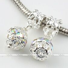 5x Dangle Ball Crystal European Loose Beads Fit Charms Snake Bracelet DIY Hot