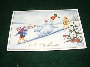 VINTAGE POSTCARD ART CHILDREN SNOWMAN SNOW NEW YEAR GREETING FRENCH