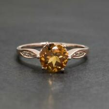 1.34ctw Genuine Citrine & H-SI 14k Rose Gold/Sterling Silver Diamond Ring