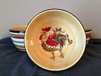 Rafael Rooster Tabletops Gallery Hand Painted Cereal or Soup Bowls - Set of 3