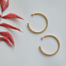 Gold Matte Large Hoop Lightweight Earrings / Bridesmaid Gift Bridal Gift Wedding
