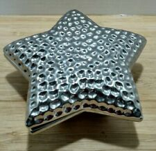 New listing Hammered SilverToned Ceramic Star Shaped Dish Candy Dish Fink 7 inch Germany