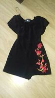 BNWT SIZE 6 OFF THE SHOULDER BLACK PLAYSUIT FLORAL APPLIQUE
