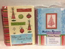 "2 Books ""NEW SEASONS"" Holiday Christmas Planner & Wipe Off Address Book NIP"