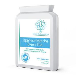 Japanese Matcha Green Tea 500mg 60 Capsules - Pure, Potent Antioxidant