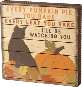 Pumpkin Cat Watching You Wood Block Sign Primitives By Kathy Fall Harvest Decor