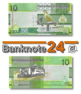 Gambia 10 Delasis 2019 Unc , Banknote, New, Birds Issue Pn 38a
