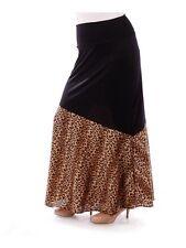 Womens Long Skirt Size 2X Black Brown Leopard Yummy Plus High Fold Over Waist