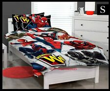 SINGLE BED SPIDERMAN KIDS SUPER HERO LICENSED QUILT DOONA COVER SET + PILLOWCASE