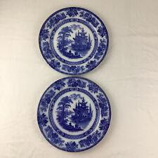 More details for 2 doulton burslem madras plate flow blue round 26.5cm 10.5 inch dinner