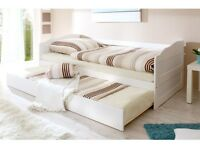 Letto singolo in legno estraibile secondo letto bianco