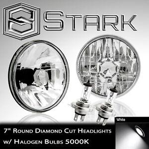 "H6024 Head Light Glass Housing Lamp Conversion Diamond Cut Chrome 7"" Round PAIR"