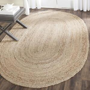 Indian Natural Oval Jute Braided Handmade Home Decoration Carpet Modern Rug