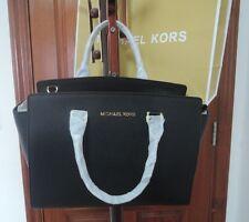 hot  MICHAEL KORS Selma Satchel Saffiano Leather handbag black large