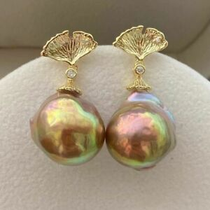 huge 15 mm   Natural baroque South Sea multicolor Pearl earrings