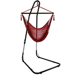 Sunnydaze Caribbean Extra-Large Hanging Hammock Chair w/ Adjustable Stand - Red