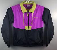 Columbia Rain Windbreaker Purple Black Jacket Women's Light Weight Size Small S