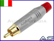 N.2 Connettore Spina RCA Amphenol Silver Rosso ACPR-SRD