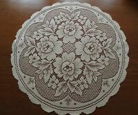 "Heritage Lace ""Ivory"" Roses Round Polyester Doliy 17""  ""New"" (9)"