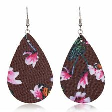 Earrings Dangle Party Handmade New Women Geometric Waterdrop Flower Leather Hook