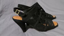 New Women's Chie Mihara Black Suede Leather Open Toe Cut-Out Heels Size 39 (8.5)