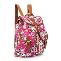 Ladies Floral Backpack Rucksack Outdoor Vintage Stylish Canvas Bag Flowers Pink
