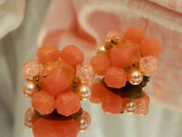 Super Cute Signed W.Germany Vintage 1950's Orange Lucite Earrings  2485o
