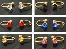 6 x U CLIP ON gold plated earrings PINK,BLUE,BLACK,AMBER,RED