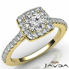 Round Cut Diamond Engagement Shared Prong Set Ring GIA E SI1 18k Yellow Gold 1Ct
