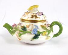 C1830 Juguete Antiguo Miniatura De Porcelana Minton Flores Con Incrustaciones De Tetera