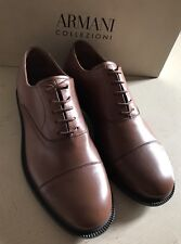 New $675 Armani Collezioni Mens Leather Oxford Shoes Brown 8 US X6C050 Italy
