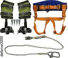 Tree Climbing Spike Set Safety Belt With Straps Adjustable Lanyard 2 Carabiner