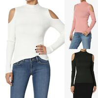 TheMogan Cold Shoulder Mock Neck Ribbed Knit Top Cutout Long Sleeve Sweater