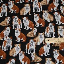Bulldog English American French Dogs Dog Cotton Fabric 1/2 Yard #C4891