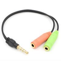 Audio Headset Klinken Adapter 4-polig 3,5 mm Klinken Buchse auf 2x 3,5mm Stecker