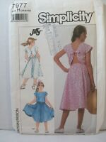 Simplicity Pattern 7977 Girls Size H (7-10) Cap Sleeve Dress Full skirt Uncut