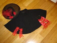 Victorian caroling black capelet cape brimmed hat gloves red bag S  M