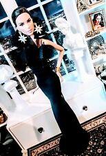 OOAK Barbie size Black floral ruffle neckline evening gown ensemble!  LAST 1 !