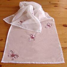 Raebel - Tischläufer - Organza -  weiß-bunt Stickerei Schmetterling 40*160 cm