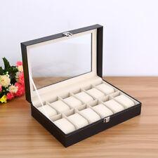 12Slots Watch Box Leather Display Case Organizer Top Glass Jewelry Storage Black