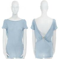 GUCCI cashmere blend blue open back bamboo horsebit buckle short sleeve top S