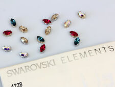 Genuine SWAROVSKI 4228 XILION Navette Crystals with Sew On Metal Settings